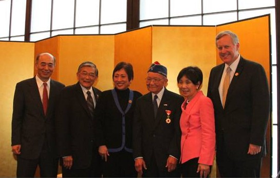L-R:  Group photo following the award ceremony.  L-R:  Ambassador Sasae, Secretary Mineta, Congresswoman Hanabusa, Terry Shima, Congresswoman Matsui, and Congressman Meadows.  Photo by Embassy of Japan