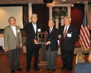 Java Luncheon October 12, 2013.  L-R:  Reuben Yoshikawa, Bob Nakamoto, Terry Shima and Gerald Yamada.  Photo by Setsy Larouche