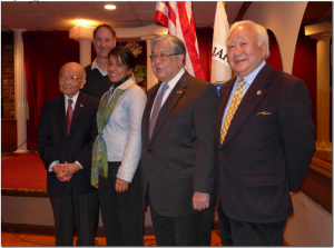 Luncheon photo.  L-R:  Terry Shima, Dr James McNaughton,   Sheila Khatri, Secretary Chow, Gerald Yamada. Photo by Mark Nakagawa