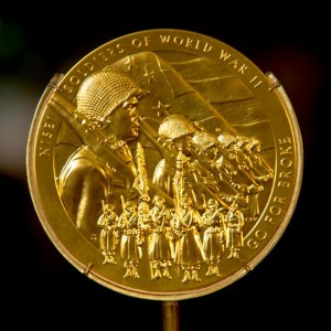 Congressional Gold Medal on display at the Smithsonian National Museum of American History.  Photo by Jeff Malet from the Georgetowner.