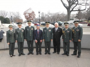 General Iwata at the Japanese American Memorial.  L-R: MAJ Yokoyama, COL Kasamatsu, MG Morishita, Terry Shima, General Iwata, Gerald Yamada, COL Iseri, and LTC Yamashita
