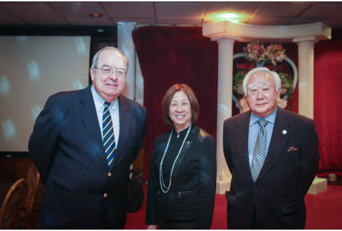 L-R:  Retired Ambassador John Malott;  recently retired President and CEO of Japan America Society of WDC ; Ms. Teri Takai, Chief Information Officer of Department of Defense; and Gerald Yamada, President of JAVA.  Photo by Bruce Hollywood