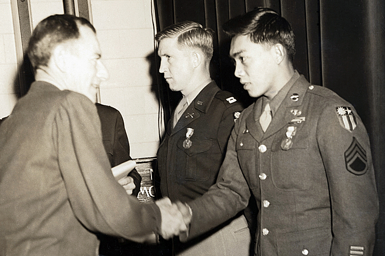 Brig Gen John Magruder, left,  deputy director of the Office of Strategic Services, presents Dick Hamada the Soldier's Medal on Jan. 3, 1946, in Washington, D.C., for Hamada's role in Operation Magpie.  Photo courtesy of the Hamada family.