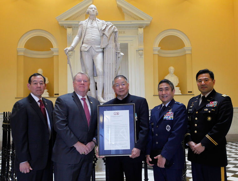 Del. L. Scott Lingamfelter, R-Prince William, Col., USA, (Ret), 2nd from left presents a resolution honoring Japanese-Americans who have served in the US military to Col. Dale Shirasago, USAF, (Ret), Capt. Wade Y. Ishimoto, US Army Special Forces, (Ret), Col. Derek Hirohata, USAF, Lt. Col. Mark Nakagawa, USA, (Ret), during a ceremony at the State Capitol in Richmond, VA.   -- BOB BROWN/TIMES-DISPATCH, Tuesday, Feb. 24, 2015.
